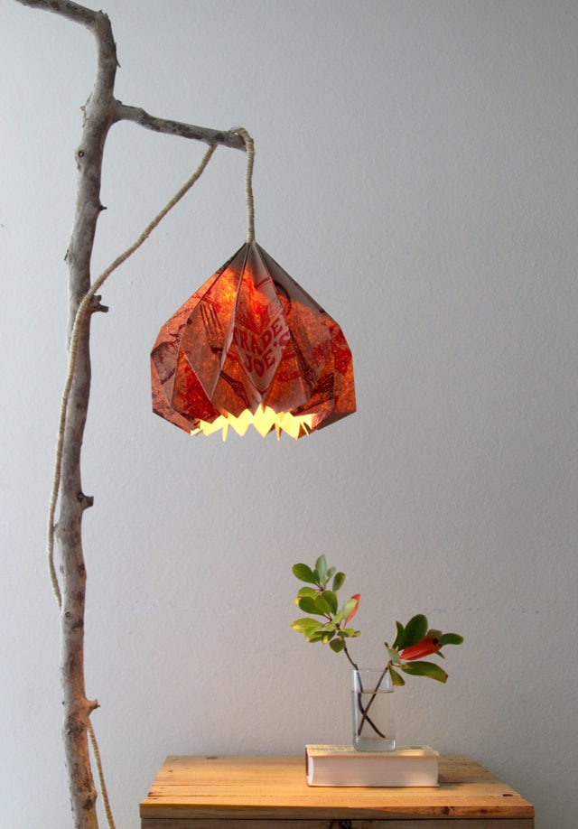 DIY lamp idea with paper bag lampshade and thin tree trunk support