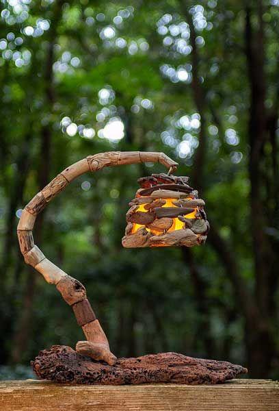 DIY outdoor lamp idea in raw rustic style