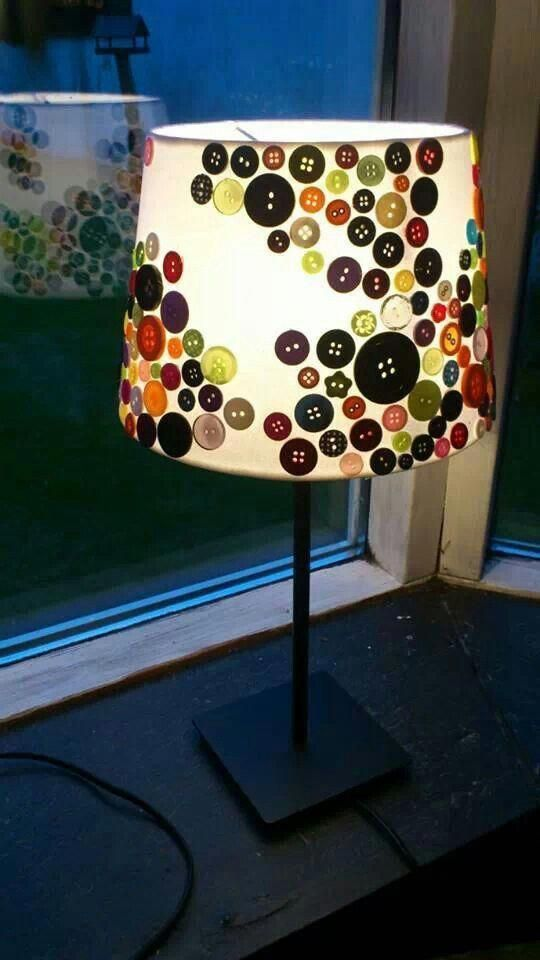 DIY table lamp with colorful button lampshade cover