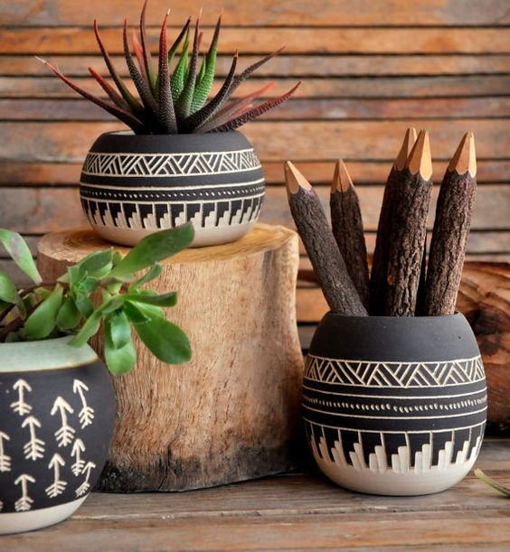 Mexico's pottery planters with native tribes' typcal patterns