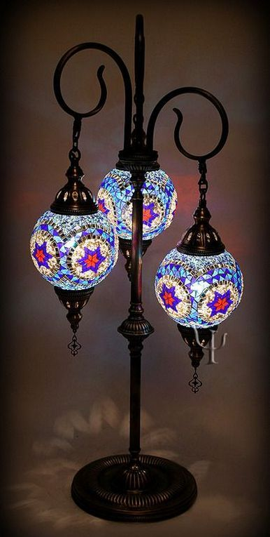 Moroccan table lamp idea with colored mosaic glass lampshade and antique look metal stand and holders