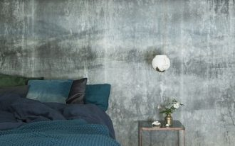 Nordic colored wall idea dramatic white bed curtain dark blue duvet cover gray bed linen deep turquoise throw blanlet whitewashed wood plank floors