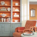 Tuscan Orange Armchair With Tufted Back Inglenook Buffet With Tuscan Orange Backwall