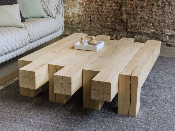 asymmetric log coffee table