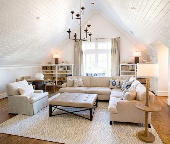 attic living room idea wood plank ceilings in white wood floors white modern furniture large glass window huge area rug