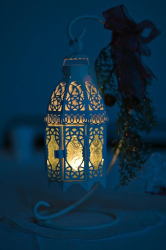 battery powered candle light centerpiece with Moroccan style details