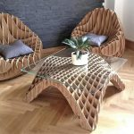 Cardboard Base Coffee Table With Clear Glass Top Cardboard Chairs With Throw Pillows
