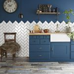 Classic White Tiles Arranged In Herringbone Pattern Navy Blue Color Wall Navy Blue Kitchen Cabinetry Shabby Wall Clock