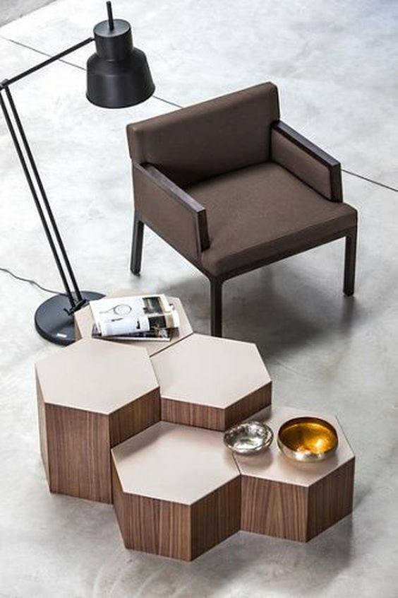 creative and artful coffee table with a cluster of hexagon tops
