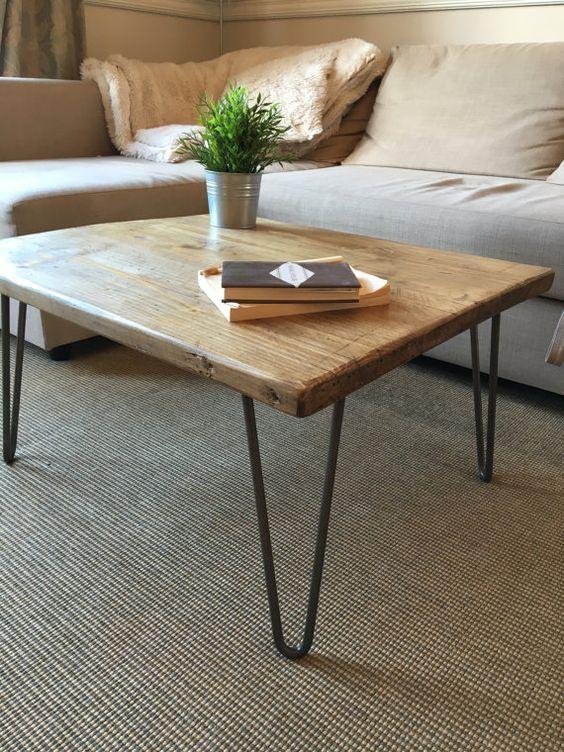 dark oak top coffee table with hairpin legs