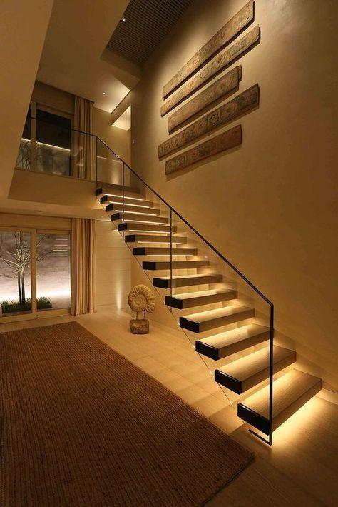 elegant stairway lightning idea