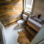 Flooring Transition From Wood To Hexagon Tile Wood Plank Wall Bathroom Sink With Wood Counter