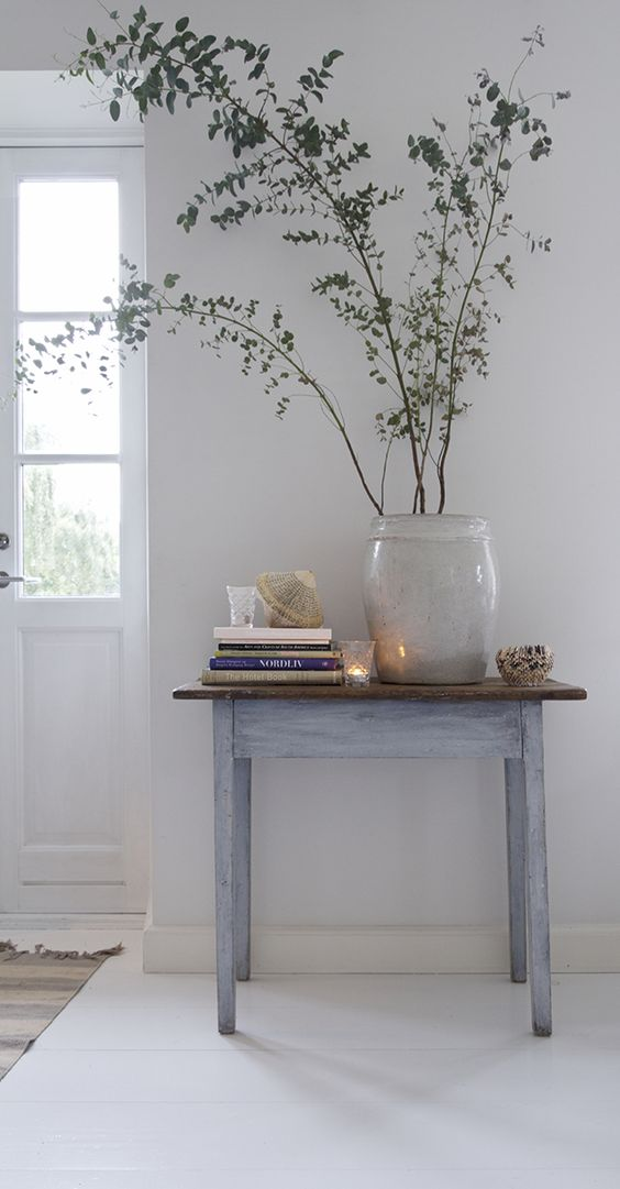 glass potted vivid plants medium size console table with blue washed tone on base