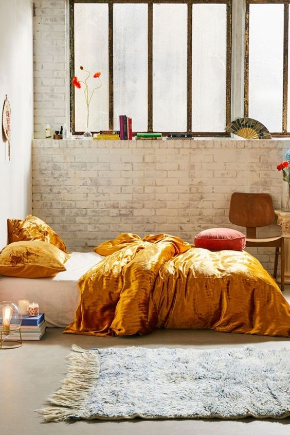 gold colored duvet cover with backed crisp sheeting