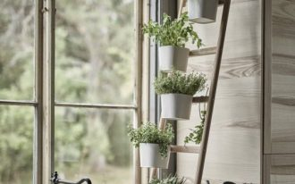greenery rack idea made of ex leaning ladder white planters with greenery