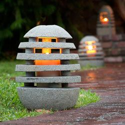 handmade carving of natural stone for outdoor light lantern