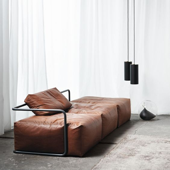 heavy look sofa with brown leather upholstery and metal frame downlight pendants with black porcelain body
