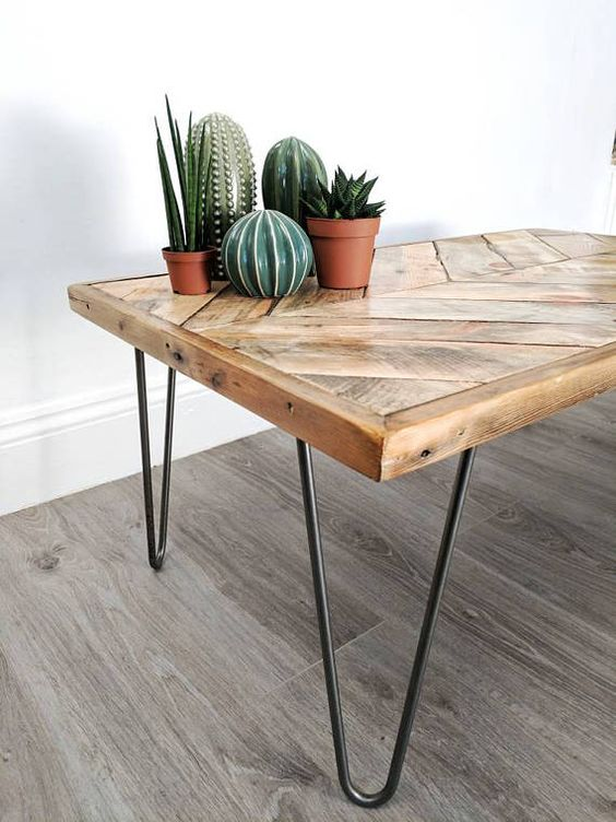 herringbone top coffee table with hairpin legs