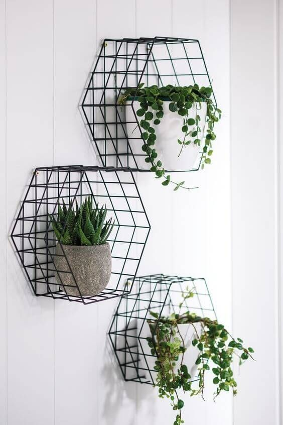 hexagon wired greenery stands in black potted greenery