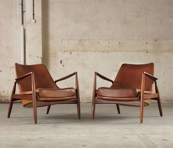 low profile armchairs in midcentury modern style
