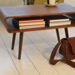 Midcentury Modern Coffee Table In Darker Wood Color Finish