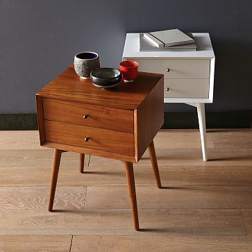 midcentury modern side table in wood color and white