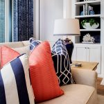 Midnight Blue Throw Pillow With Geometric Patterns Coral Toned Throw Pillows With Texture