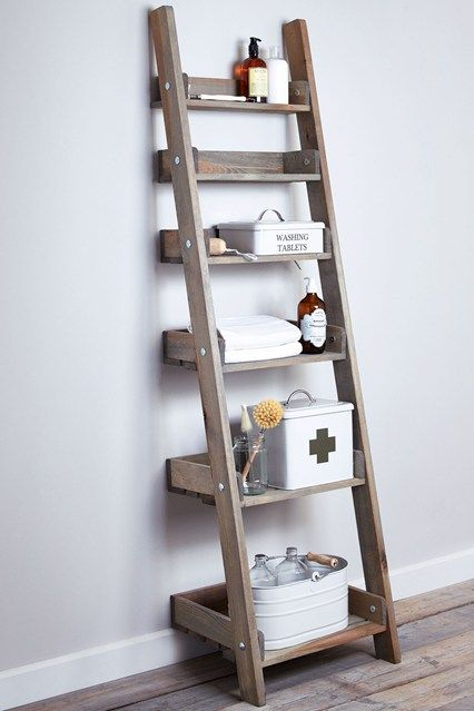 modern rustic wood leaning ladder for bathroom