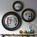 Ornate Porthole Mirrors With Black Frame And Gold Accent Ring