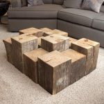 Reclaimed Wood Coffee Table With Different Height