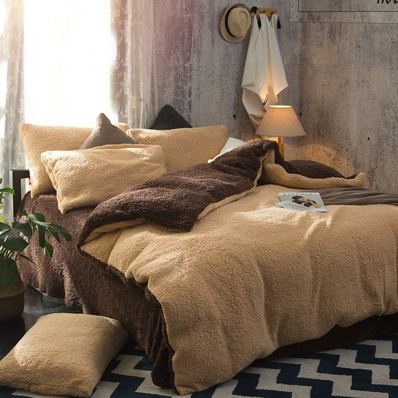 reversible duvet cover in solid camel and coffee tone