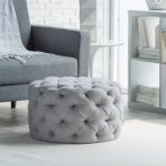 Round Tufted Ottoman In Light Gray