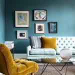 Seaside Color Walls Mustard Tufted Chair In Midcentury Modern Style Tufted Sofa In White Mustard Throw Pillows