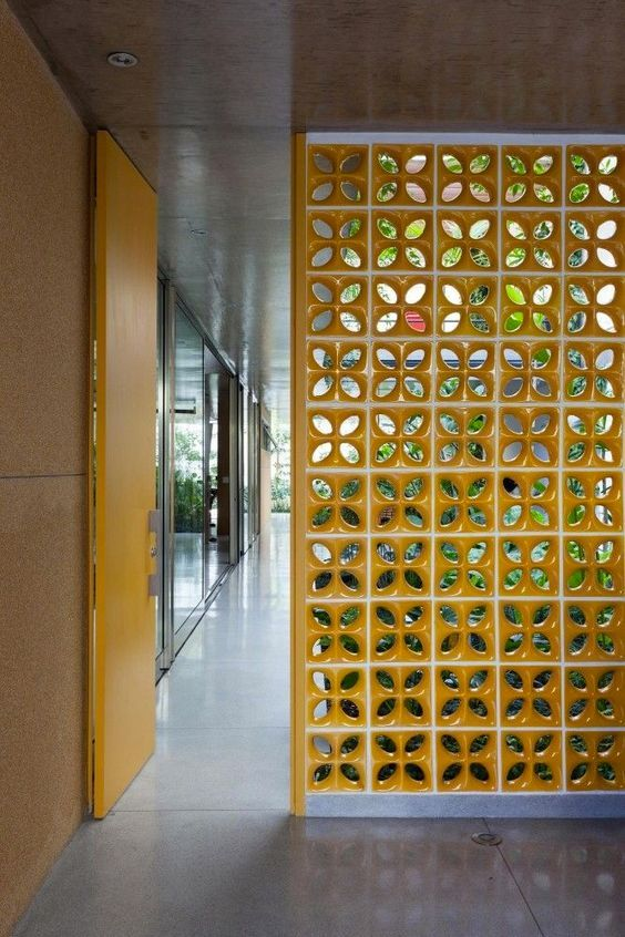 semi privacy room divider in yellow