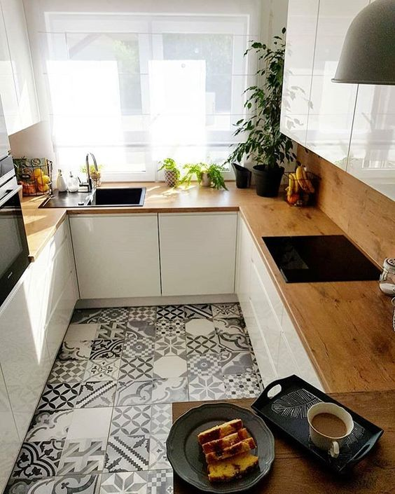 small kitchen design wood kitchen countertop with glossy white cabinetry vintage tile floors