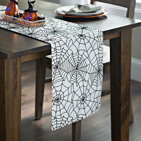 spider web table runner for Halloween
