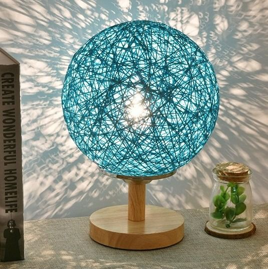 takraw ball table lamp with molded oak base