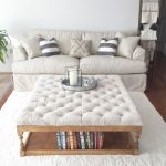 Tufted Coffee Table With Wood Frame Sofa Slipcover In White