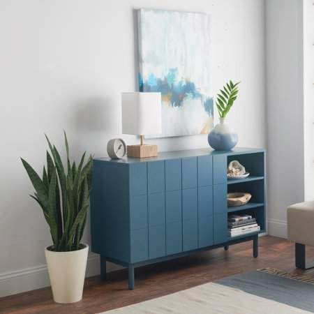 two door cabinet by Walmart in blue