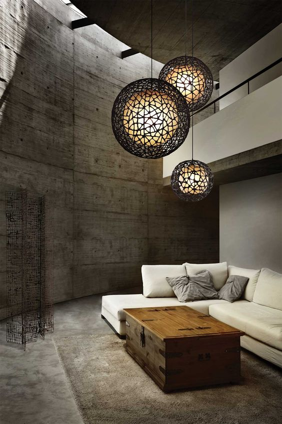 CUC ME Round pendants with black woven wire lampshade