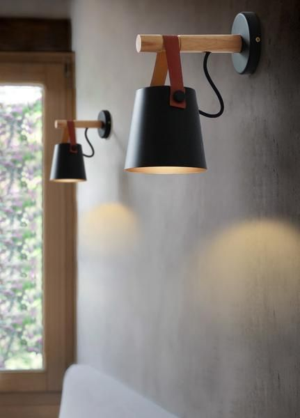 Nordic wall mounted lamps with iron and wood structure