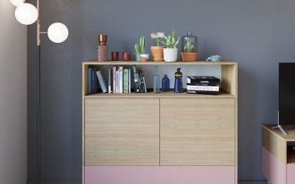 Scandinavian Paolo dresser with pink base