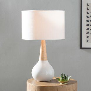 Scandinavian table lamp with white lampshade cone like neck and white vase base