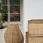 Antique Bench With Back Rest Handmade Woven Basket