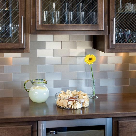 brushed metal subway tile backsplash