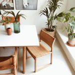 Clean Look And Minimalist Interior Light Wood Furniture Set Potted Greenery
