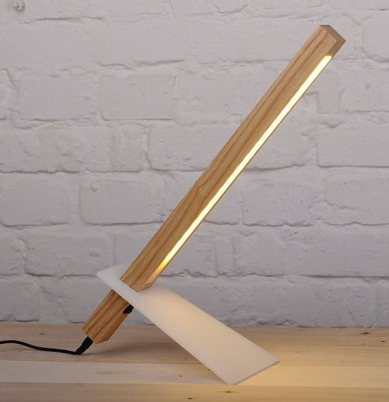 contemporary table lamp with wooden structure and solid panel support