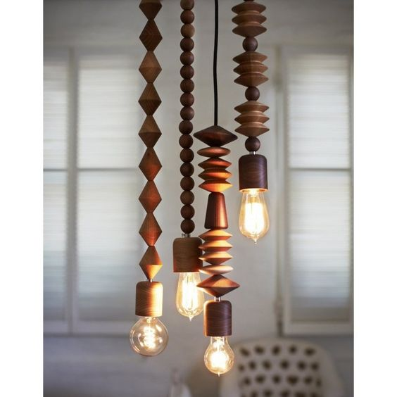 creative pendant lamps with wooden bead chain
