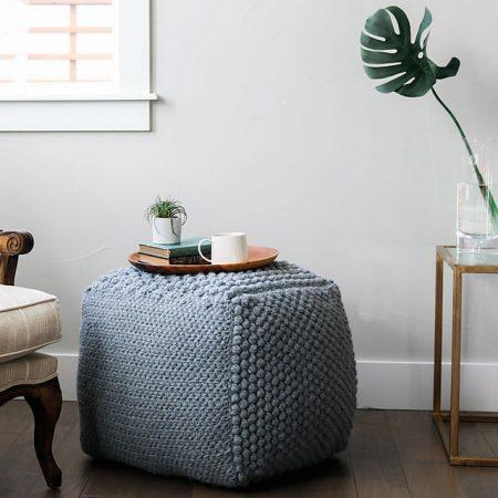 crochet pouf ottoman in blue