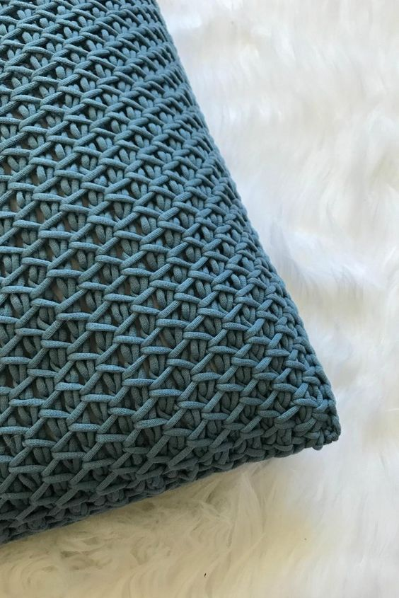 crochet throw pillow in deep blue